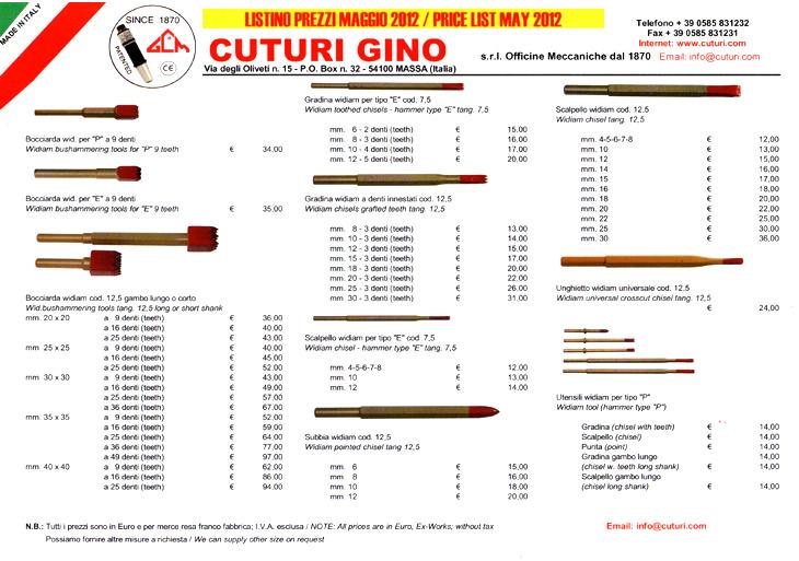 Listino martelli cuturi maggio 2012